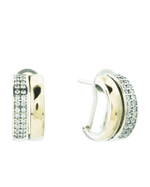 Made In Portugal 14k Gold And Sterling Silver Cz Earrings