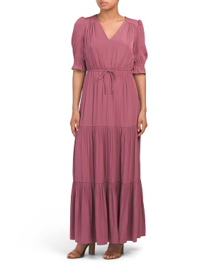 Tiered Satin Charmeuse Maxi Dress