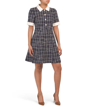 Tweed Short Sleeve Collared Dress