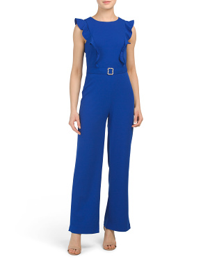 Petite Jumpsuit With Pearl Detailed Belt
