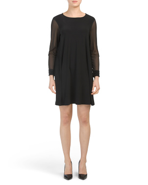 Petite Made In Usa Cocktail Dress With Sheer Sleeves