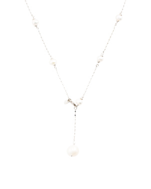 Made In Italy Sterling Silver Pearl Adjustable Necklace
