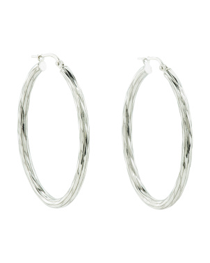Made In Italy Sterling Silver Striped Oval 47mm Hoop Earrings