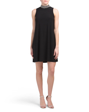 Made In Usa A-line Embellished Neck Jersey Dress