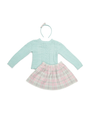Girls 2pc Sweater Plaid Skirt Set With Hairband