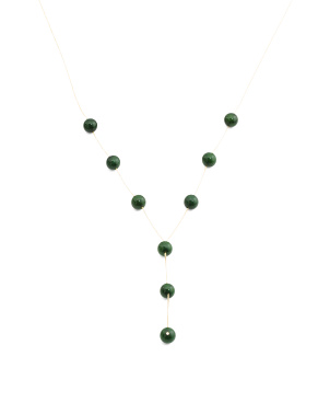 14k Gold Jade Station Y Necklace