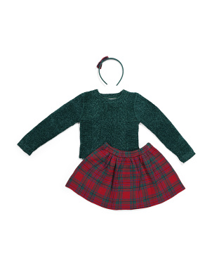 Girls 2pc Sweater Plaid Skirt Set With Hair Clip