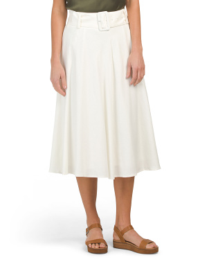 Linen Midi Skirt With Belt