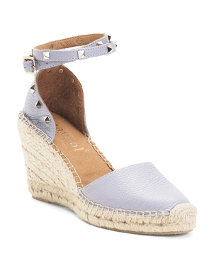 Made In Spain Studded Leather Espadrille Wedges