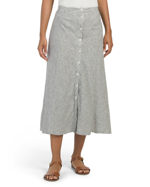 Button Front Linen Midi Skirt