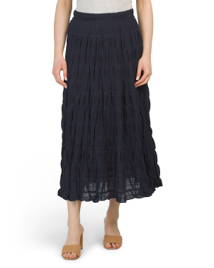 Textured Cotton Maxi Skirt