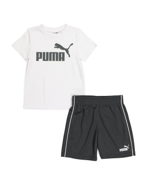 Little Boys Graphic Tee And Mesh Short Set