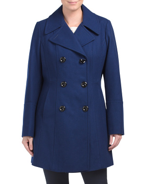 Wool Blend Double Breasted Peacoat