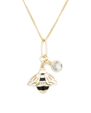 Gold Plated Sterling Silver Cz Bee Necklace