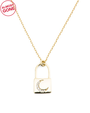 Gold Plated Sterling Silver Cz Crescent Lock Necklace