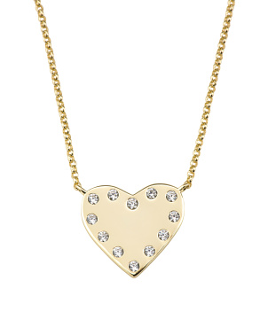 Gold Plated Sterling Silver Cz Heart Necklace