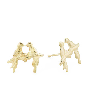 Made In Usa 14k Gold Hummingbird Duo Stud Earrings