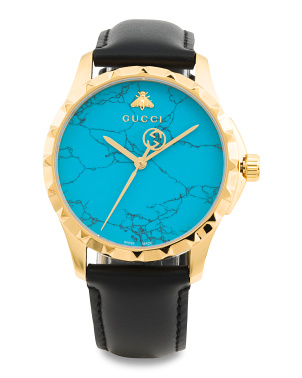 Swiss Made G Timeless Turquoise Dial Leather Strap Watch