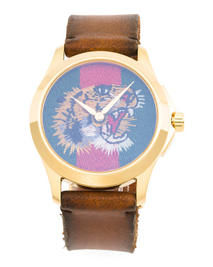 Swiss Made Le Marche Des Merveilles Tiger Dial Leather Watch