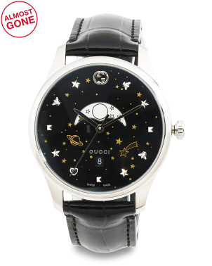 Swiss Made Moonphase Celestial Alligator Strap Watch