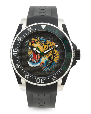 Swiss Made Tiger Dial Silicone Strap Dive Watch