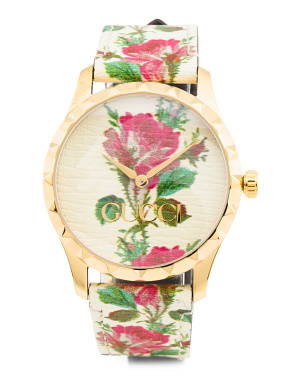 Women's Swiss Made G Timeless Floral Leather Strap Watch