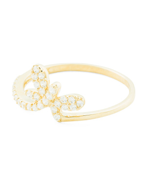 14k Gold Cz Dragonfly Ring