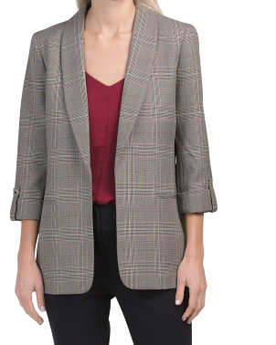 Long Plaid Blazer