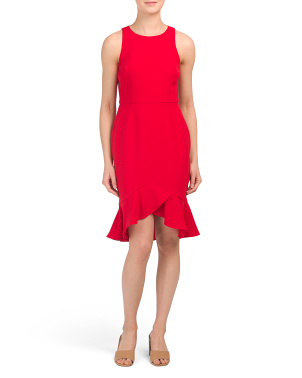 Petite Sleeveless Dress With Flounce Hem