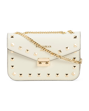 Made In Italy Fernanda Studded Leather Crossbody
