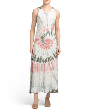 Made In Italy Cotton Knit Tie Dye Maxi Dress