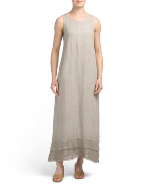Made In Italy Linen Maxi Dress With Tiered Hem