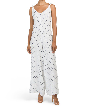 Made In Italy Polka Dot Linen Gaucho Jumpsuit