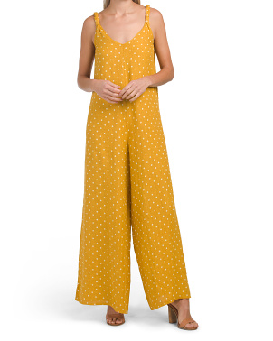 Made In Italy Linen Polka Dot Gaucho Jumpsuit