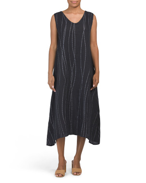 Made In Italy Subtle Dot & Stripe Linen Midi Dress