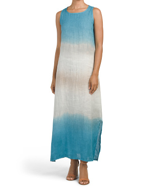Made In Italy Linen Tie Dye Maxi Dress