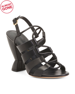 Made In Italy Strappy Leather High Heel Sandals