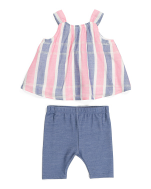 Baby Girls Stripe Capri Set