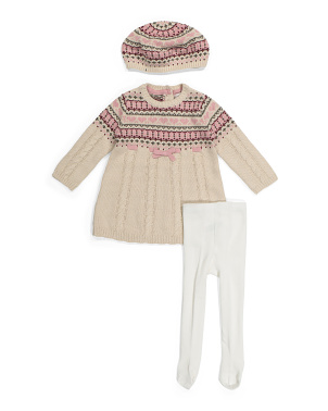 Infant Girls Bow Sweater Dress & Beret Set