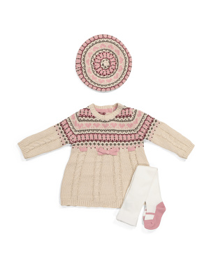 Newborn Girls Bow Sweater Dress & Beret Set