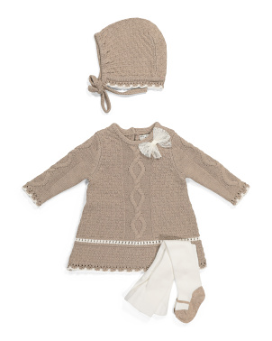 Newborn Girls Sweater Dress & Bonnet Set