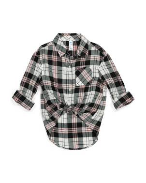 Girls Plaid Woven Blouse