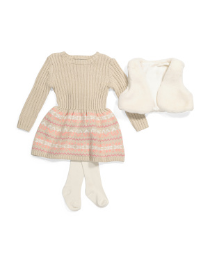 Infant Girls Sweater Dress & Faux Fur Vest Set