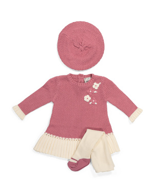 Newborn Girls Peplum Sweater Dress & Tights Set