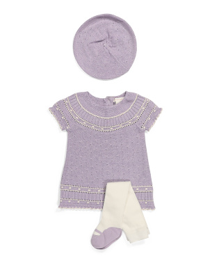 Newborn Girls Organic Cotton Sweater Dress & Tight