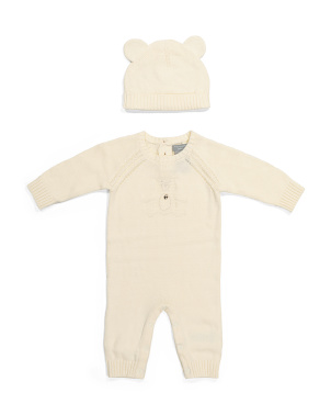 Newborn Girls Bear Coverall & Hat Set