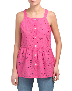 Made In Italy All Over Eyelet Top