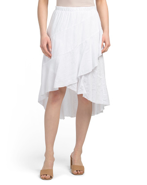 Made In Italy Linen Wrap Tiered Skirt