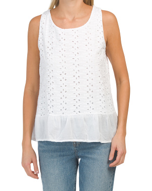 Made In Italy Eyelet Top