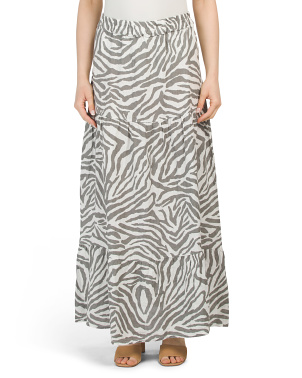 Made In Italy Linen Zebra Print Long Tier Skirt